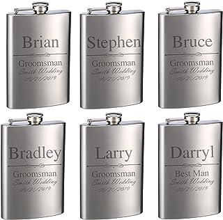 Top Shelf Flasks Personalized Custom Engraved 8oz Stainless Steel Groomsman Gift Flasks for Weddings, True Metal Etching L...