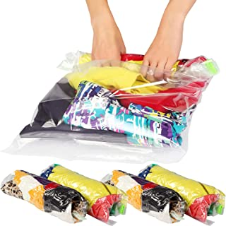 Lekors - 12 Travel Space Saver Bags - Travel Storage Bags for Clothes - Compression Travel Bags - Packing Bags for Luggage - Travel Accessories - No Vacuum Needed