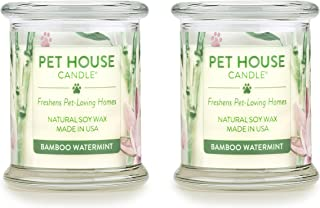 One Fur All 100% Natural Soy Wax Candle, 20 Fragrances - Pet Odor Eliminator, Up to 60 Hours Burn Time, Non-Toxic, Reusable Glass Jar Scented Candles – Pet House Candle, Bamboo Watermint - Pack of 2