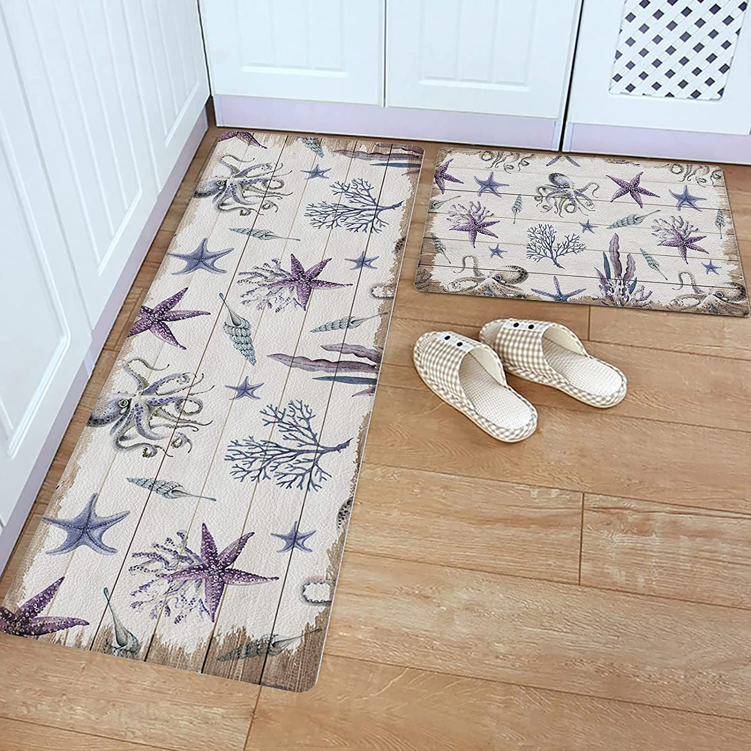 Max 42% OFF Regular dealer Advancey 2 Pieces Kitchen Rugs and Mats Leather PVC Ma Floor Set