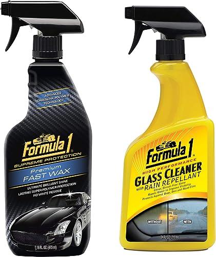 Formula 1 Premium Fast Spray Wax (473 ml) & Formula 1 615807 Glass Cleaner with Rain Repellant (710 ml)