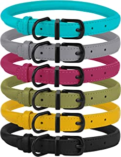BRONZEDOG Rolled Leather Dog Collar Soft Round Rope Pet Collars for Small Medium Large Dogs Cat Puppy Kitten Black Blue Pink Green Yellow Grey