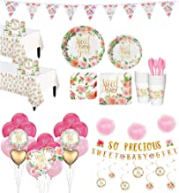 Party City Ultimate Boho Girl Baby Shower Kit for 32 Guests, Includes 2 Table Covers, Banners and Balloon Bouquet