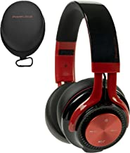 PowerLocus P3 Bluetooth Headphones Over-Ear, [26h Playtime, Bluetooth 5.0] Wireless Hi-Fi Stereo Headphone, Foldable with Mic, Deep Bass, Wired Mode for Cell Phones/Laptop/PC/TV (Black/Red)