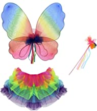 Fairy Wings Wands Fancy Dress Party Net Fantasy Up Outfit Rainbow Pink