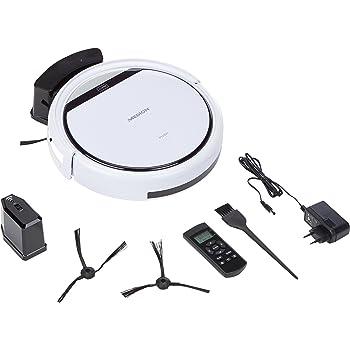 MEDION MD 18600 - Robot aspirador para alfombras, baldosas, 90 minutos de tiempo de funcionamiento, retorno a la estación de carga, sensores de seguridad, pantalla integrada, Blanco: Amazon.es: Hogar