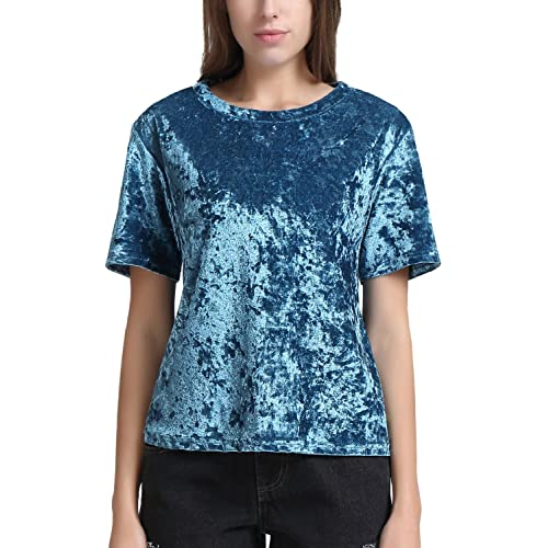 e3f21a979a9186 Perfashion Velvet T-Shirt Blouse Top for Women