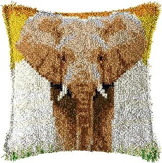 Lanrui Kits de Crochet de loquet pour Adultes Bricolage Jet d'oreiller Couvercle avec éléphant imprimé modèle Familial Toi...