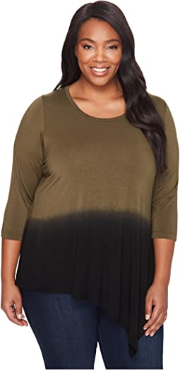 Plus Size Angled Hem Dip-Dye Top
