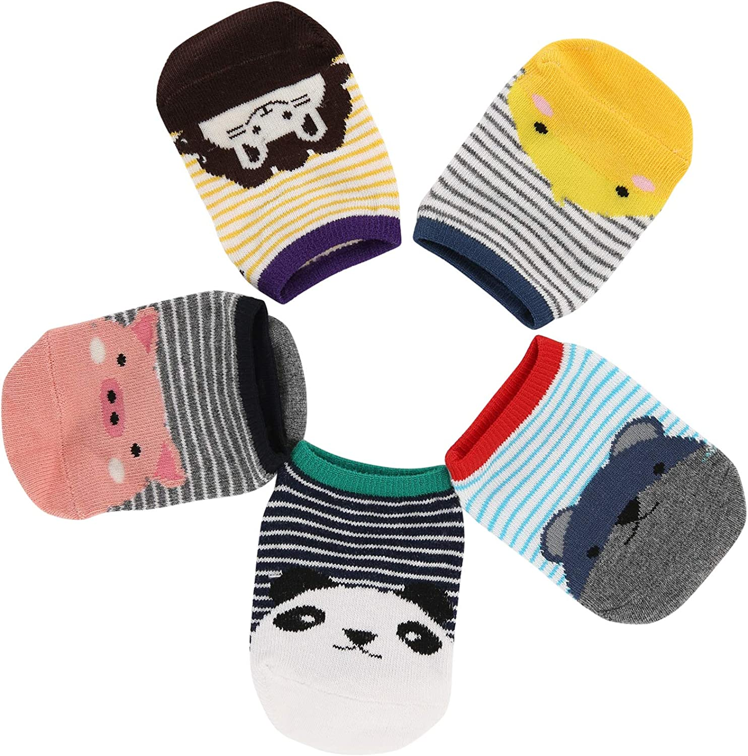 Athlemo Baby Girl Boy Toddler Infant No Show Low Cut Socks Colorful Assorted Unisex Newborn Kids Cotton Socks 5 Pairs 0-2T