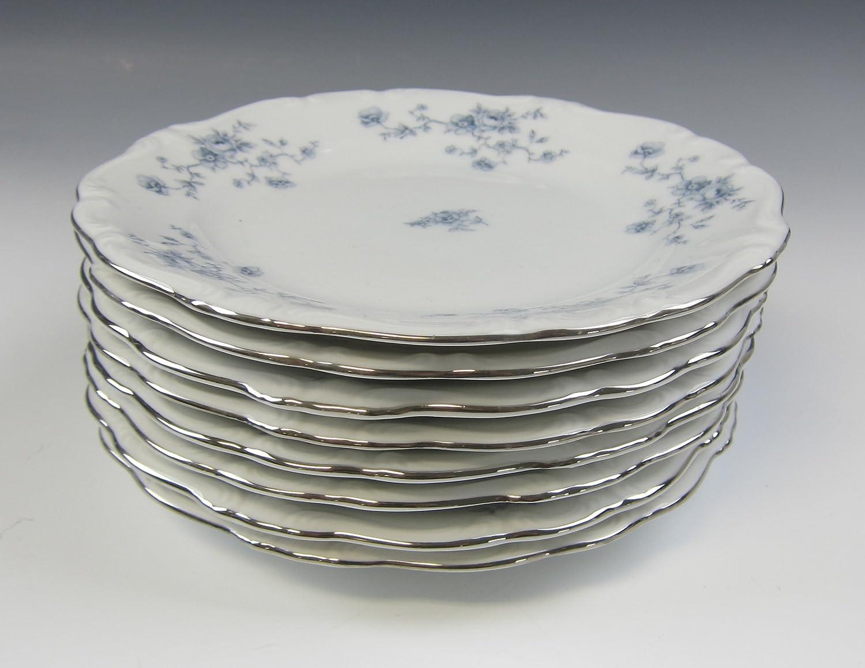 Lot of 8 Johann Fashionable Havilland BLUE Plates Popular brand in the world GARLAND Bread and Butter E