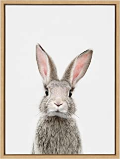 Kate and Laurel Sylvie Female Baby Bunny Rabbit Animal Print Portrait Framed Canvas Wall Art by Amy Peterson, 18x24 Natural
