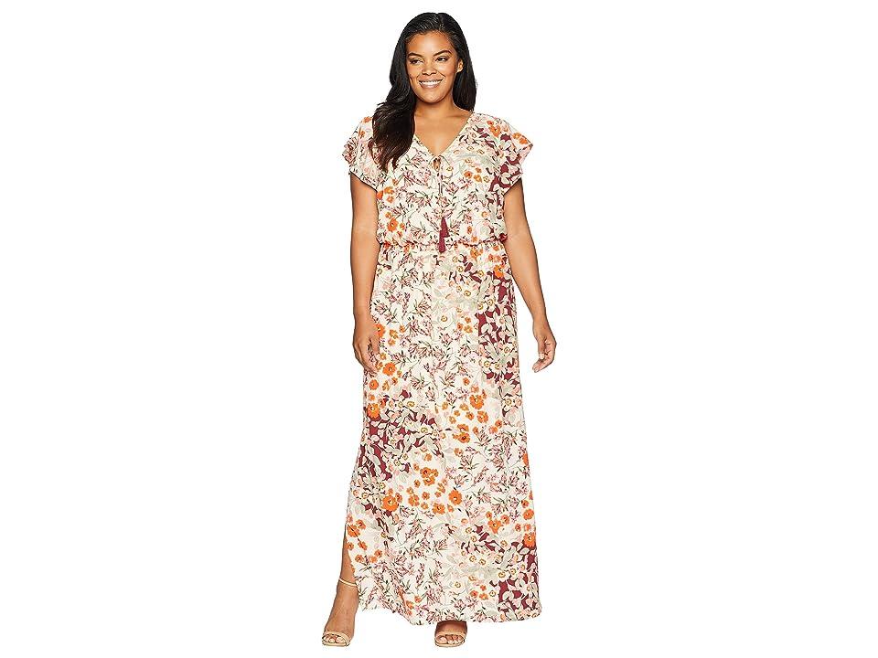 Adrianna Papell Plus Size Cap Sleeve Maxi (Geranium Multi) Women