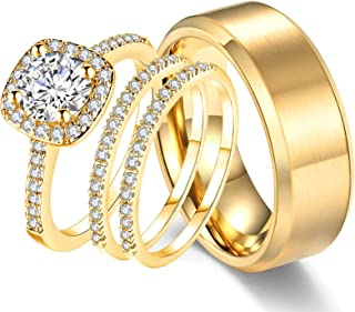 Ahloe Jewelry 18k Yellow Gold Wedding Ring Sets for Him and Her Women Men Titanium Stainless Steel Bands 2Ct Cz Couple Rings