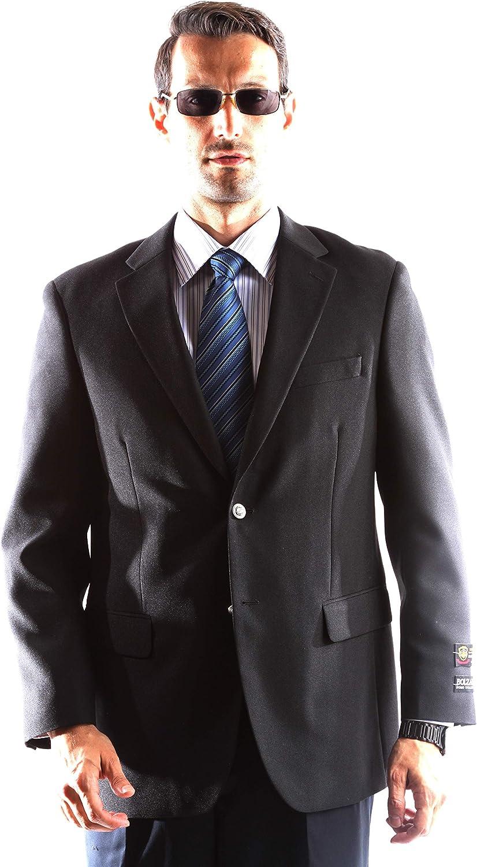 Men's Single Breasted Two Button Black Blazer Size Long 40
