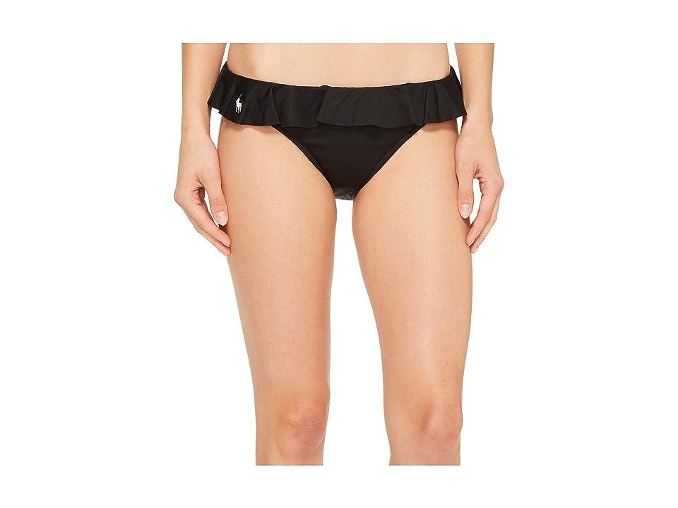 Polo Ralph Lauren Modern Solid Ruffle Hipster Bikini Bottom (Black) Women
