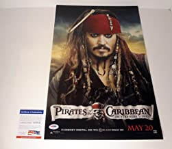 Johnny Depp Signed Autograph Pirates of The Caribbean Movie Poster PSA/DNA COA #1