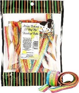 Asia Trans Rainbow Belt Strips with Li Hing Mui Plum Powder | Hawaiian Favorite | Sweet & Sour Soft Gummy Candy