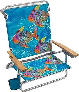 """Rio Brands Beach Classic 5 Position Lay Flat Folding Beach Chair - Tropical Fusion Fish, 8.5"""""""