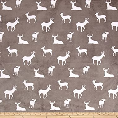 Shannon Fabrics Premier Prints Minky Cuddle Deer to Me Fabric by The Yard, Graphite
