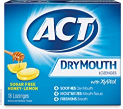 ACT Dry Mouth Lozenges With Xylitol, Sugar Free Honey-Lemon, 18 Count