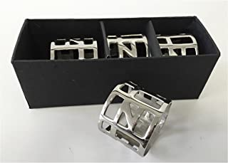 Alef Judaica Napkin Rings - Highly Polished Smooth Silver Flat Rings with Cutouts of Rectangles Squares and Triangles - Set of Four