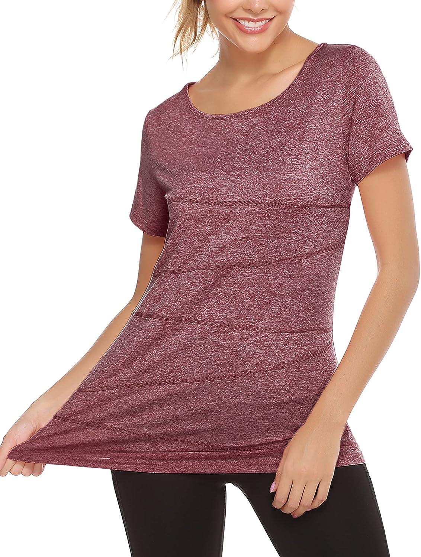 iClosam Womens Short Sleeve Tunic Workout Tops Yoga Activewear Shirt Running T-Shirt