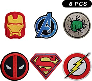 6 Pieces Cartoon Marvel The Avengers Iron Man Hulk Superman The Flash Logo Iron On Sew On Embroidered Patch for Jackets Backpacks Jeans and Clothes Badge Applique Sign Motif Decal