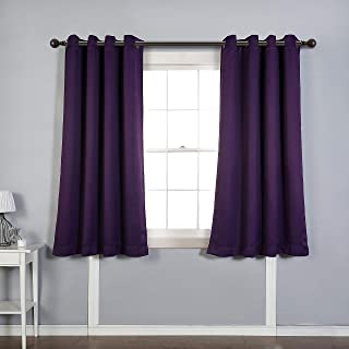 MYSKY HOME Solid Grommet top Thermal Insulated Window Blackout Curtains for Bedroom, 52 by 63 inch, Royal Purple (1 Panel)