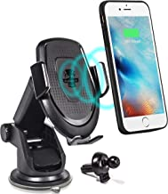 Car Cell Phone Wireless Charger Stand - for Vehicle Dashboard and Air Vent - 10W Fast Charging Dock - Compatible w/iPhone Xs|XS MAX|XR|X|8|8P / Samsung Galaxy S10/+|S9/+|S8/+, All QI Enabled Devices