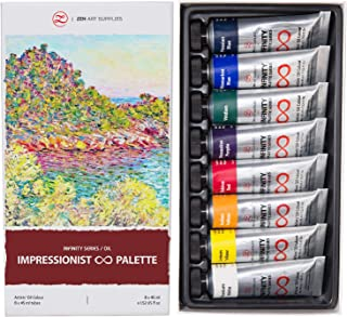 Oil Paints for Artists - 8 x Large 45ml Tubes - Impressionist Palette of Eco-Friendly, Non-Toxic, Lightfast Paint with Exceptional Pigment Load - The Infinity Series by ZenART