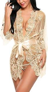 Avidlove Women's Lace Kimono Robe Babydoll Lingerie Mesh Nightgown