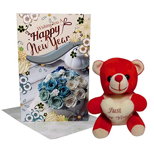 Siddhi Gifts Happy New Year Greeting Card, Just for You Teddy Bear