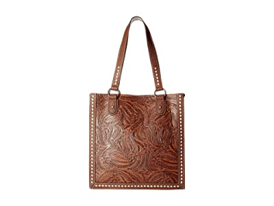 M&F Western Floral Embossed Buck Stitch Tote (Tan) Tote Handbags