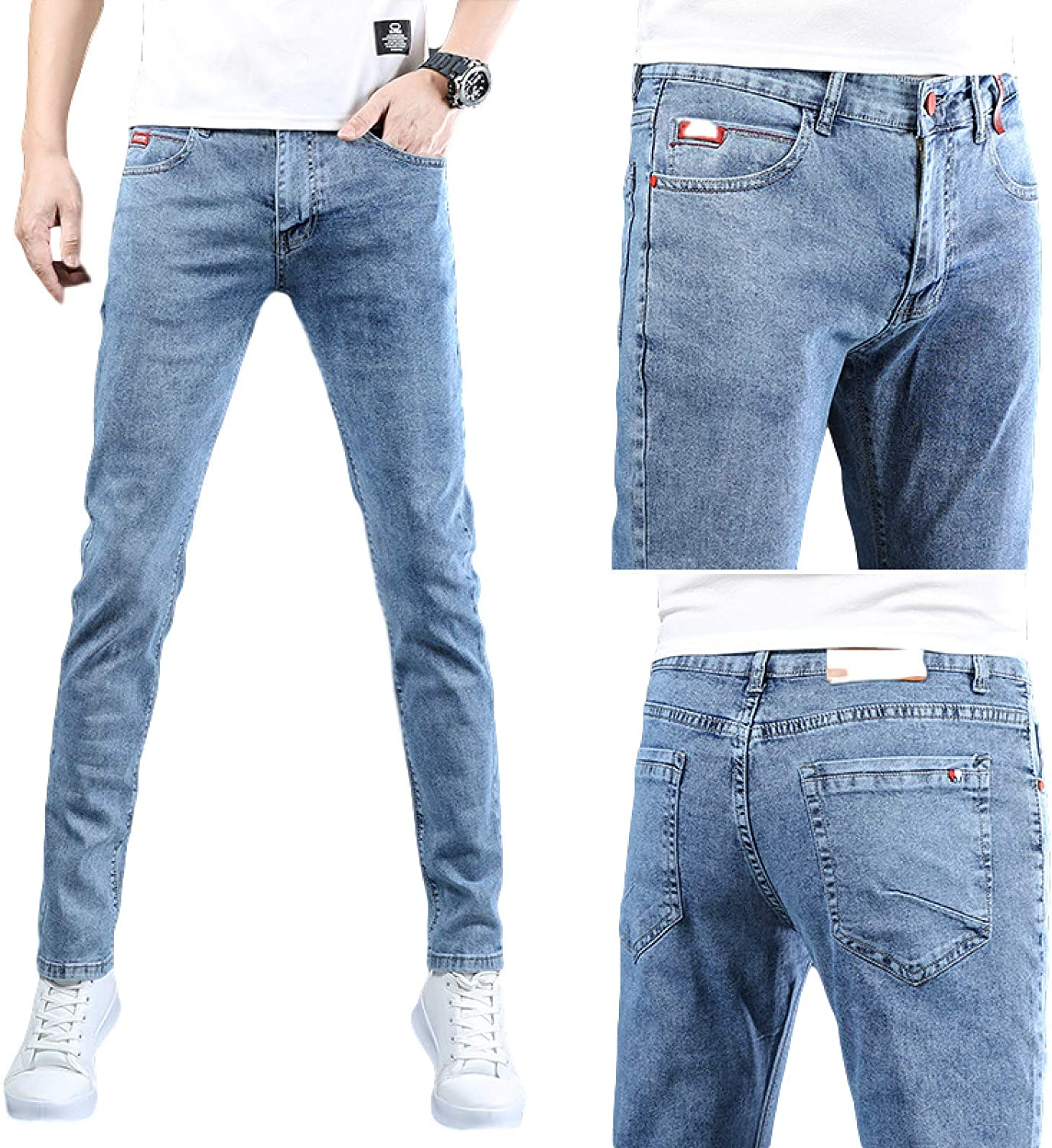 Bargain Sales results No. 1 Huntrly Men's Jeans Summer Thin Stretch J Slim-fit Trend Fashion