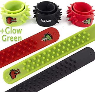 Fidget Toys for Sensory Kids - Dragon & Dinosaur Soft Silicone Spike Slap Bracelets - Stress Relief Toys for Focus, Calm and Fun in Red, Black and Glow Green