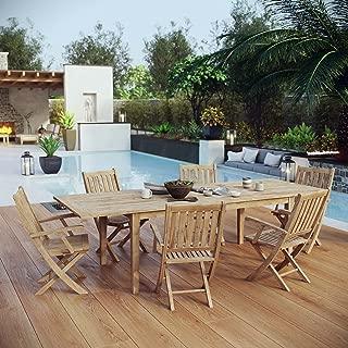 Modway EEI-3280-NAT-SET Marina Premium Grade A Teak Wood 7-Piece Outdoor Patio Dining Furniture Set, Six Folding Armchairs/One Table, Natural