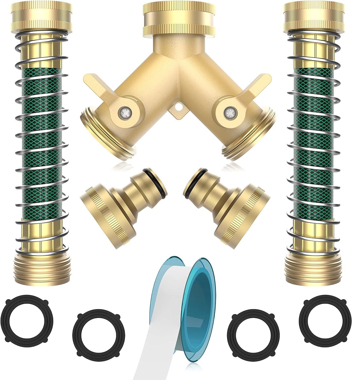 PUUKU 2 Way Brass Garden Hose Splitter,3/4 Garden Y Hose Connector ,Heavy Duty Water Hose Splitter Set with 2 Kink-Free Hose Extension Adapter,4 Rubber Washers & Tape