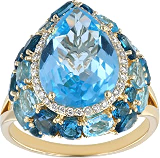 Olivia Paris Large Pear Shape Diamond Accented Ring with Sky Blue, Swiss Blue, and London Blue Topaz