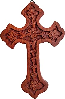 Iconsgr Handmade Wooden Holy Orthodox Religious Wood Carved Wall Cross Christ Crucifix Athos 85