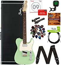 Fender American Performer Tele Humbucker, Rosewood - Surf Green Bundle with Hard Case, Gig Bag, Cable, Tuner, Strap, Strings, Picks, Capo, and Austin Bazaar Instructional DVD