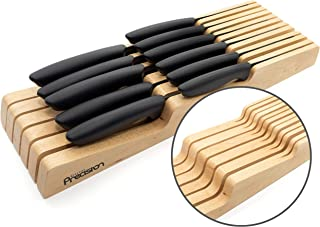Kitchen Precision Knife Block Drawer Organiser - Holds 11 Knives - Large and Small - Hevea Hardwood Knife Holder Divider f...