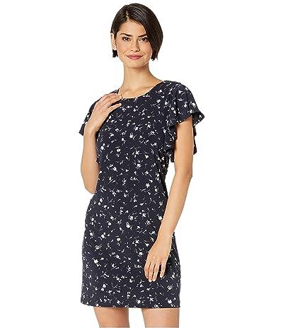 CeCe Flutter Sleeve Flower Dance Knit Dress (Caviar) Women
