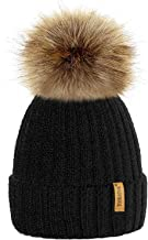 TOSKATOK®Womens Winter Rib Knitted Hat/Beanie with Detachable Chunky Faux Fur Bobble Pom Pom