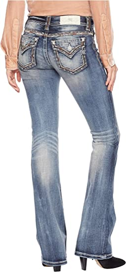 Mid-Rise Bootcut with Thick Border Stitching in Medium Blue