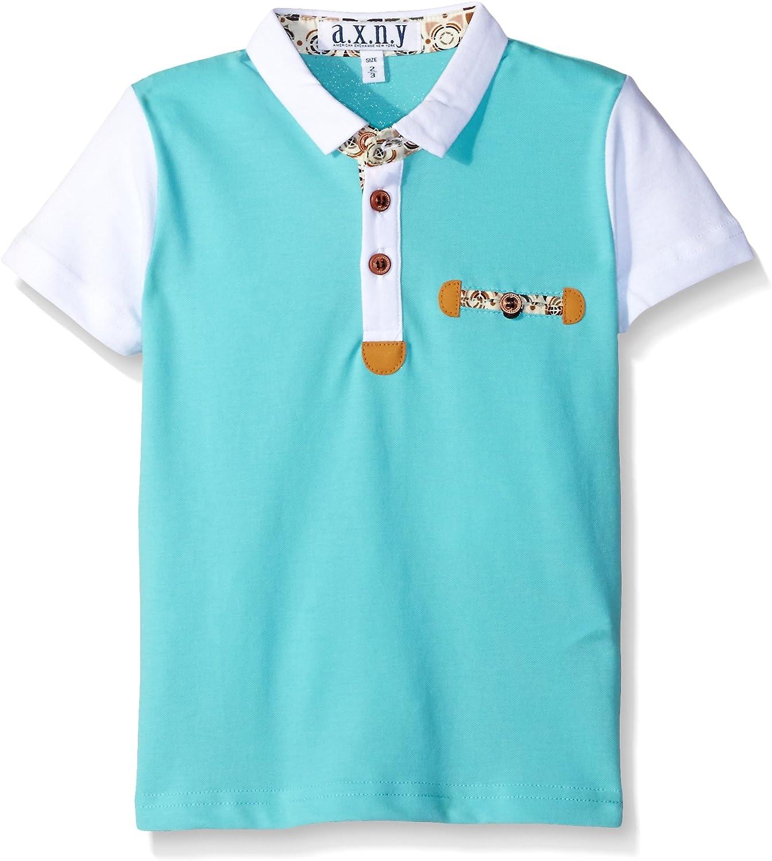 AXNY a.x.n.y Boys' Short Sleeve Solid Contrast Polo
