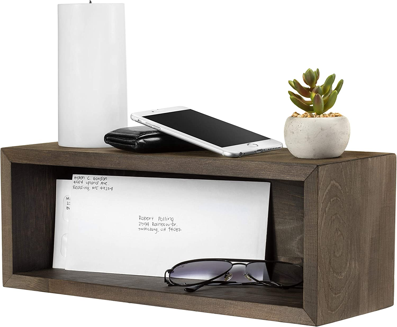 Mildenhall Floating Shelf Organizer - Wall Mount Mail Holder with Optional Key Hooks