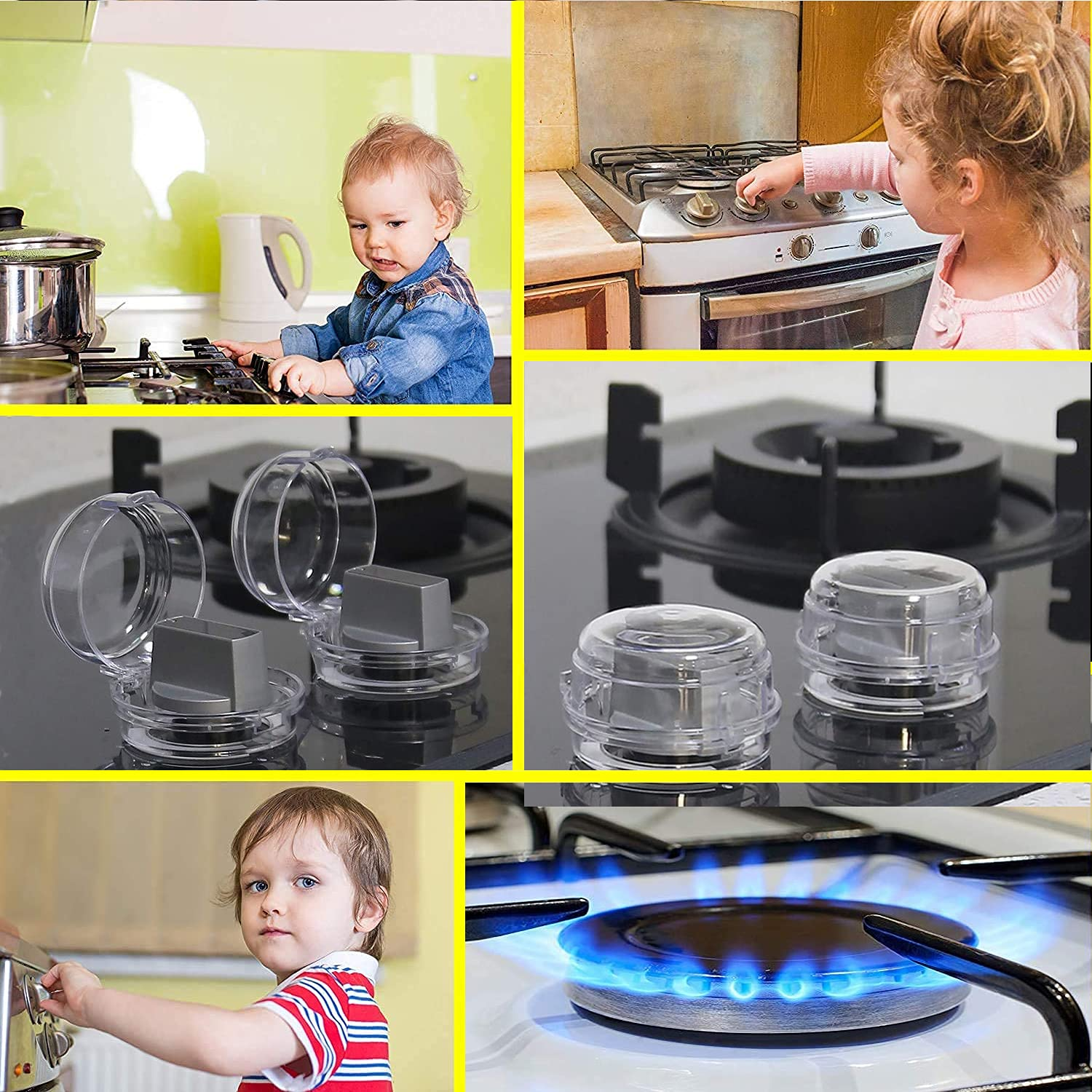 Stove Knob Covers for Child Safety, Gas Stove Knob Covers,Clear Safety Covers - Protect Little Kids with A Child Proof Lock for Oven/Stove Top/Gas Range - Baby(2pcs) (Blue)