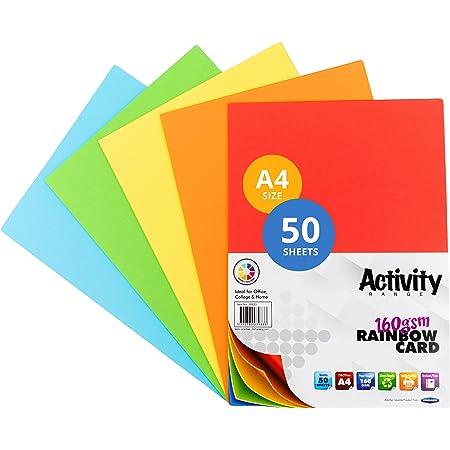 Premier Papeterie A4160g/m² Carte d'Activité–Arc-en-ciel (Lot de 50feuilles)