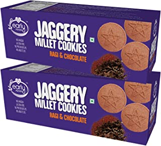 EARLY FOODS Combo Pack of 2 - Organic Ragi and Choco Jaggery Cookies (150g Each)